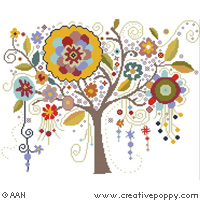 Tree of Crazy Flowers, cross stitch pattern by Alessandra Adelaide Needleworks