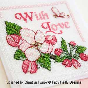 Apple Blossom Greeting card, cross stitch pattern by Faby Reilly Designs