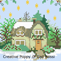 Tree cottage, cross stitch pattern by Gail Bussi, Rosebud Lane
