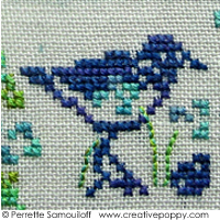 Perrette Samouiloff uses three-quater cross stitches for the tips of the seagull's beaks