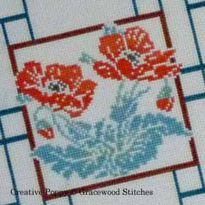 Poppies (Korean Screen), cross stitch pattern by Gracewood Stitches