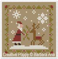 Santa & Reindeer cross stitch pattern by Barbara Ana Designs