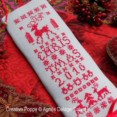 Reindeer Christmas banner cross stitch pattern by Agn�s Delage-Calvet