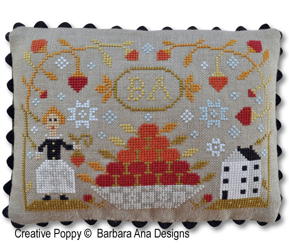 Strawberry Harvest cross stitch pattern by Barbara Ana Designs