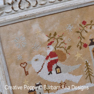Santa, the Dove and the Key cross stitch pattern by Barbara Ana Designs