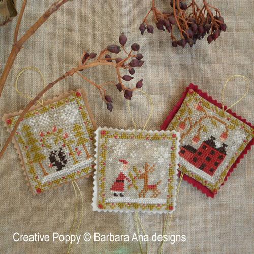 Christmas ornament Trio cross stitch pattern by Barbara Ana Designs