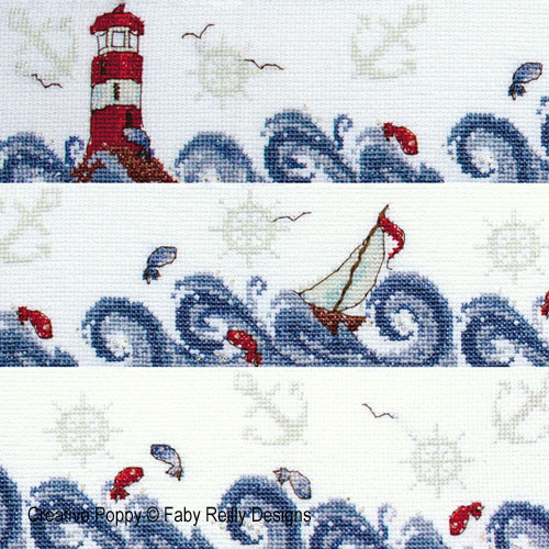 High Seas (nautical decor decorative band) cross stitch pattern by Faby Reilly Designs