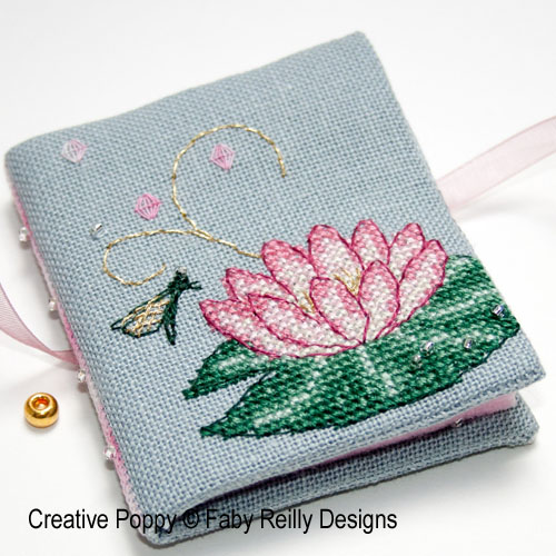 Pink Lotus needlebook cross stitch pattern by Faby Reilly Designs