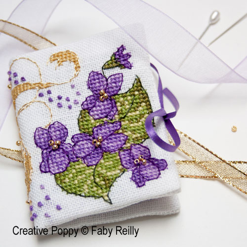 Violet scissor case cross stitch pattern by Faby Reilly Designs