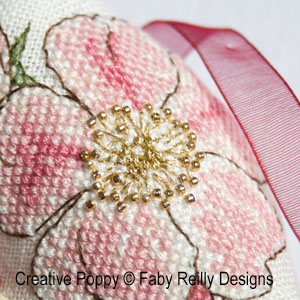 Wild Rose Biscornu cross stitch pattern by Faby Reilly Designs