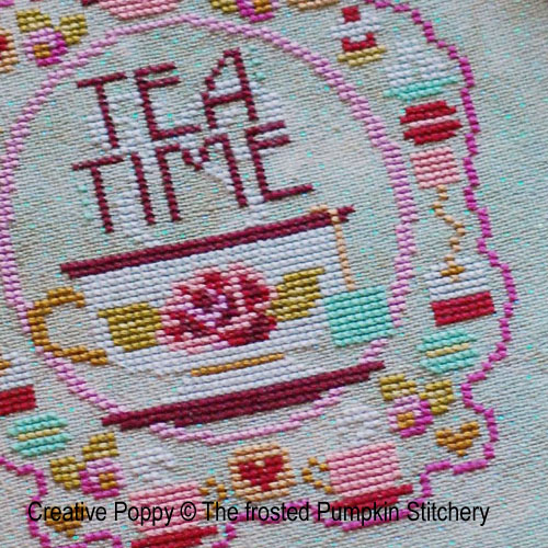 Tea time cross stitch pattern by The Frosted Pumpkin Stitchery
