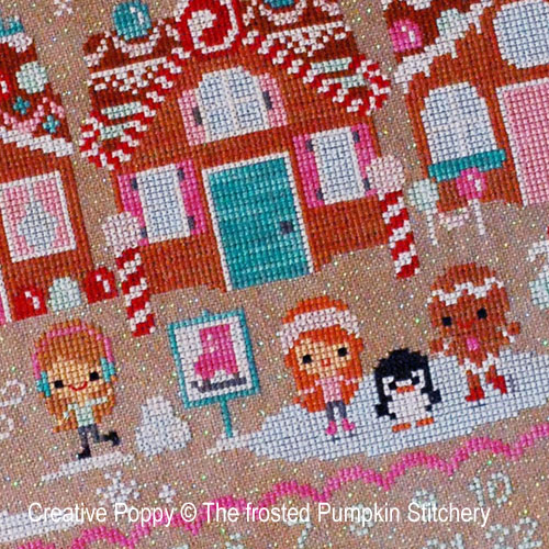 Christmas on Gingerbread lane cross stitch pattern by The Frosted Pumpkin Stitchery