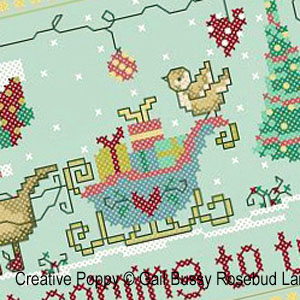 Santa paws, cross stitch pattern by Gail Bussi, Rosebud Lane