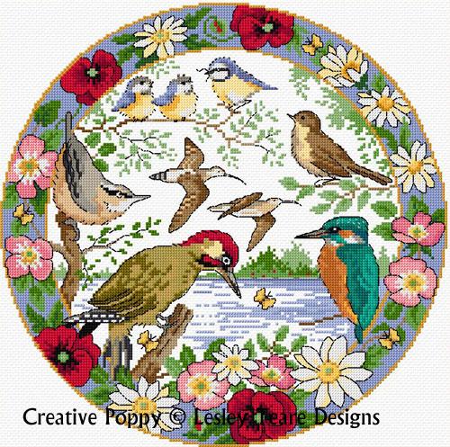 Birds in summer cross stitch pattern by Lesley Teare Designs