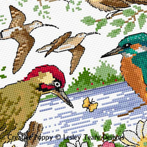 Birds in summer cross stitch pattern by Lesley Teare Designs
