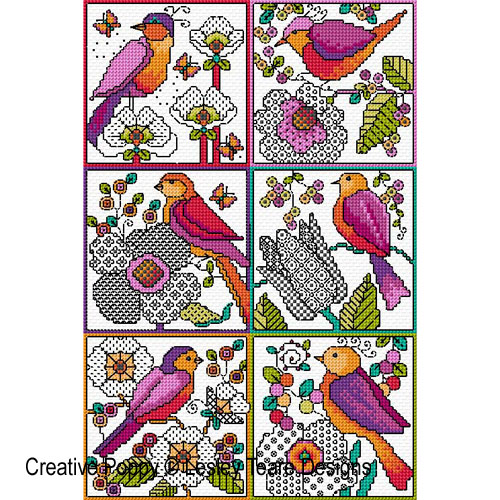 Blackwork flowers with Birds cross stitch pattern by Lesley Teare Designs