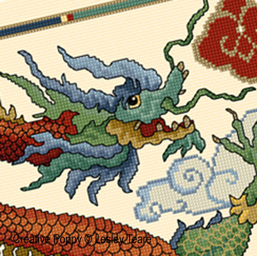 Chinese dragon cross stitch pattern by Lesley Teare
