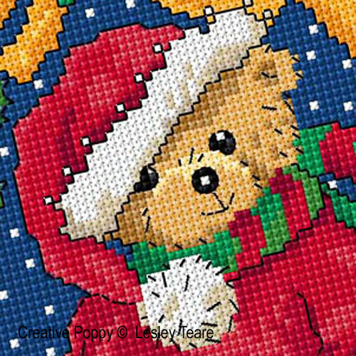 Christmas teddy cross stitch pattern by Lesley Teare designs