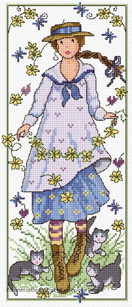 Daisy Girl cross stitch pattern by Lesley Teare Designs
