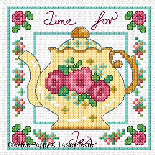 Decorative Teapots cross stitch pattern by Lesley Teare Designs