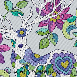 <b>Folk Art deer</b><br/>cross stitch pattern<br/>by <b>Lesley Teare Designs</b>