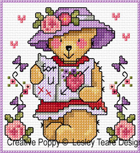Teddy cards for Girls cross stitch pattern by Lesley Teare Designs