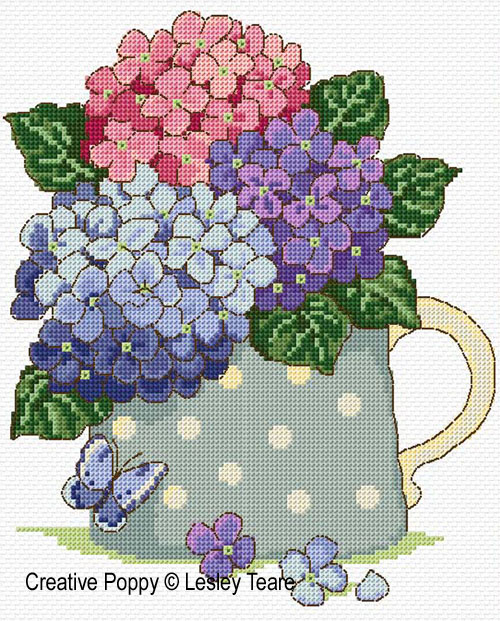 lesley teare designs hydrangea bouquet cross stitch