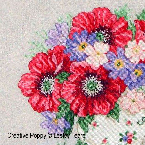 Poppy Bouquet cross stitch pattern by Lesley Teare