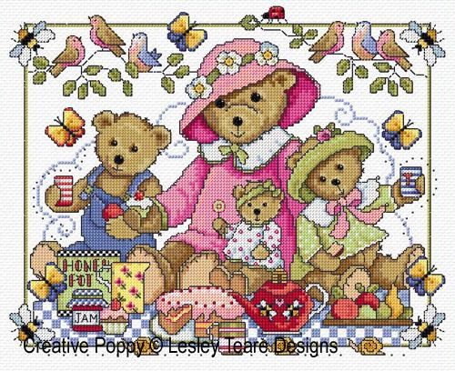 Lesley Teare Designs Teddy Bears Picnic Cross Stitch Pattern