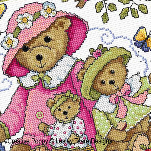 Teddy Bears Picnic cross stitch pattern by Lesley Teare Designs