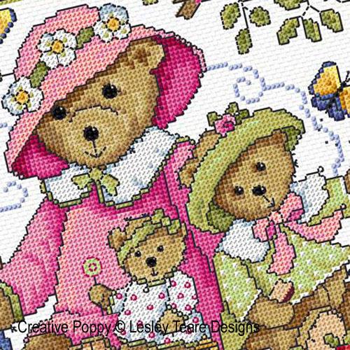 Teddy Bears Picnic cross stitch pattern by Lesley Teare Designs
