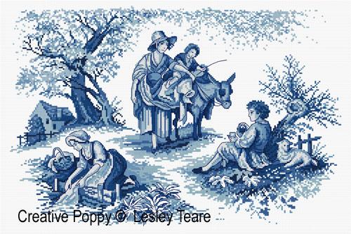 Lesley Teare Designs Toile De Jouy Design Cross Stitch