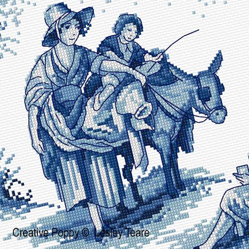 Lesley teare designs toile de jouy design cross stitch for Housse de couette toile de jouy