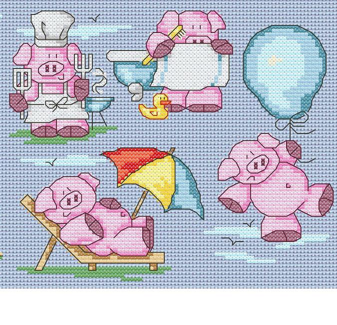 11 Cute Summer Pigs cross stitch pattern by Maria Diaz