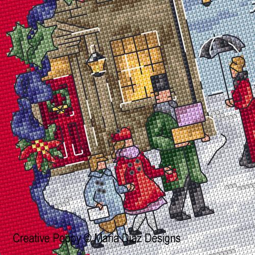 Victorian Christmas cross stitch pattern by Maria Diaz Designs
