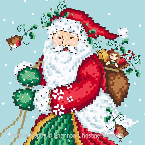 Jolly Santa cross stitch pattern by Shannon Christine Designs