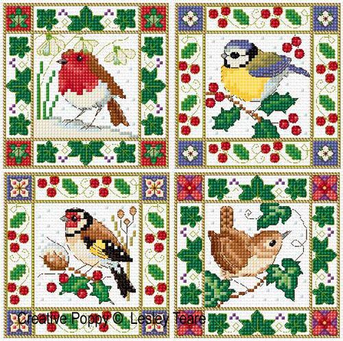 lesley teare designs christmas birds cards cross stitch pattern