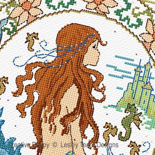 Fantasy Mermaid cross stitch pattern by Lesley Teare Designs