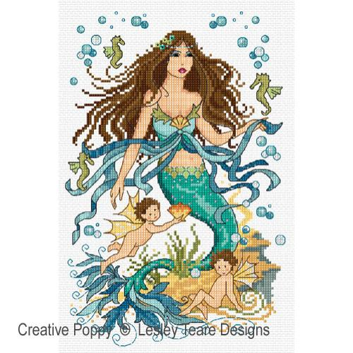 Mermaid and Water Nymphs cross stitch pattern by Lesley Teare Designs
