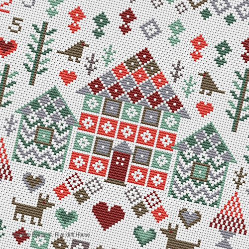 Riverdrift House - House in the Woods Sampler zoom 1 (cross stitch chart)