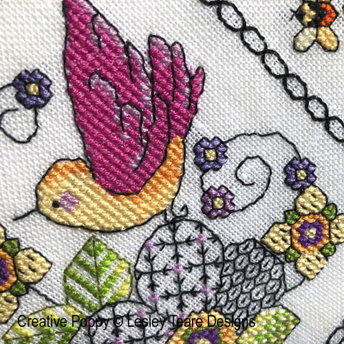 12 Birds and Blackwork Flowers cross stitch pattern by Lesley Teare Designs, zoom 1
