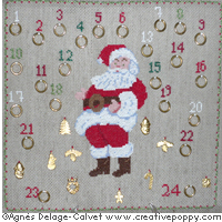 Santa's advent calendar cross stitch pattern by Agnès Delage-Calvet