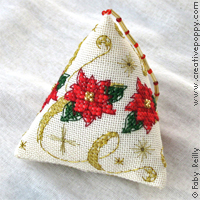 Poinsettia Humbug (Xmas ornament) - cross stitch pattern - by Faby Reilly Designs
