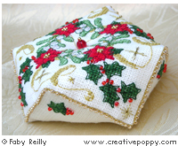 Christmas biscornu (Xmas ornament) - cross stitch pattern - by Faby Reilly Designs