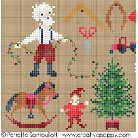 Santa is really busy! (large pattern) - cross stitch pattern - by Perrette Samouiloff (zoom 1)