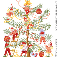 Decorating the Christmas Tree, counted cross stitch chart, designed by Sylvie Teytaud-Louche