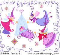 Fairy godmothers - baby ABC - cross stitch pattern - by Sylvie Teytaud