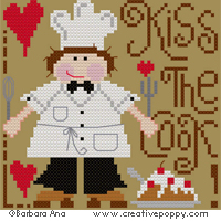 Kiss the cook (male version) - cross stitch pattern - by Barbara Ana Designs
