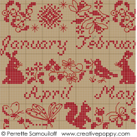 Calendar, counted cross stitch chart, designed by Perrette Samouiloff