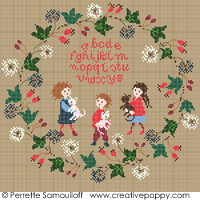 Wild berries wreath ABC (large pattern) - cross stitch pattern - by Perrette Samouiloff
